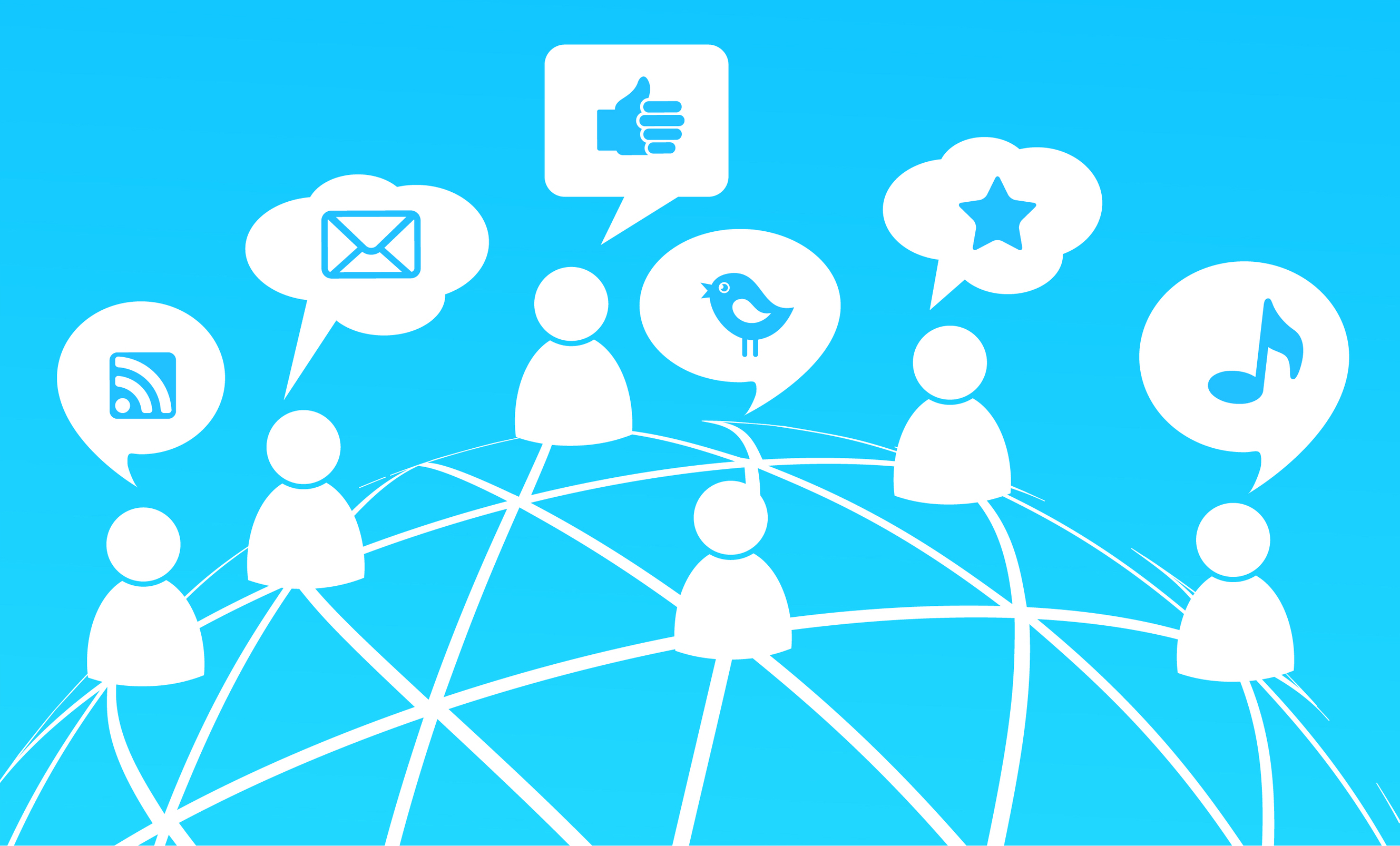 Social network background with media icons, vector illustration